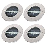 Kohree Arbeitsleuchte, ® 4 er Set LED Solar Strahler, Solar Edelstahl, 3 Licht LED-Einbauleuchte unterirdisch-Boden-Boden/Garten/Landschaft, Weiß