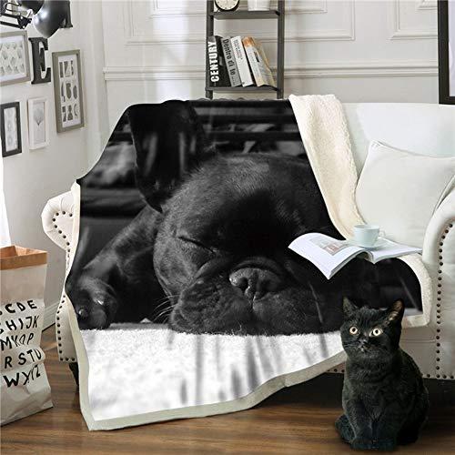 Ngmz coperta nera coperta calda coperta morbida soffice coperta 3d stampa bulldog francese coperta divano letto, 150 * 200 cm