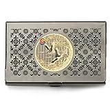 Business Karte Halter, Kreditkarte Halter mit Gold Verzierung. Fliegender Kranich und Kiefer Baum