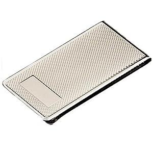 silberkanne Geldscheinklammer Kornguillochiert mit Gravurfeld 6×3 cm Silber Plated versilbert in Premium Verarbeitung