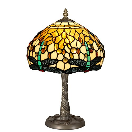 World Art TWGD10511 Chevet Libellule Lampe de Table de Nuit Style Tiffany Verre E14 Multicolore