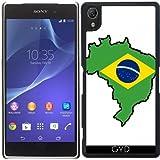 Funda para Sony Xperia Z2 - Brasil Mapa De La Bandera by Cadellin