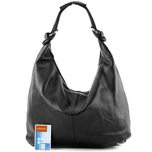 modamoda de - ital. Ledertasche Damentasche Hobo Bag Schultertasche Shopper Groß Leder 337 Schwarz