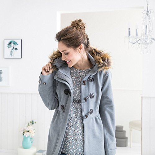 2HEARTS JANE AUSTEN RELOADED Umstands-Mantel Romantic Duffle Coat mit Fake Fur