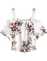 Yeamile���� Camiseta de Mujer Tops Suelto Blusa Causal Camisetas Ocasionales Moda Blusa de Manga Corta de las Mujeres Tops de Encaje Blusa Floral (Blanco, S)