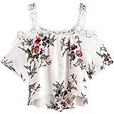 Damen Tops Strene Loveso Frauen Reizend Trägerlose Schulterfrei Blumenmuster Kurzarm Bluse Tops T-Shirt