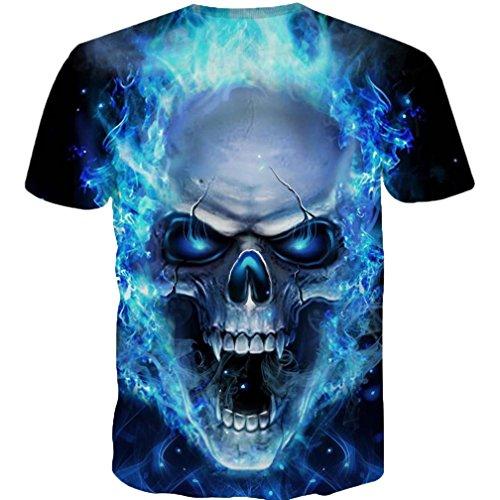 d Schädel Muster ❤️Kurzarm-Shirt Cool Graphics Tees (Blau, XXXL) (Baseball-jersey-clearance)