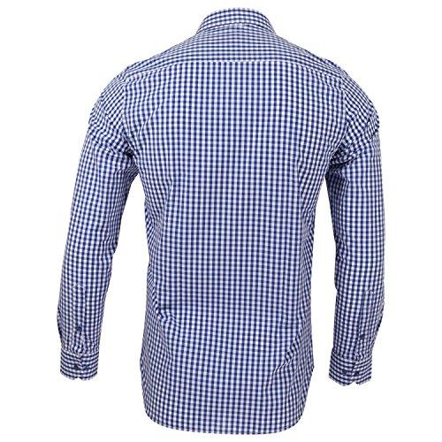 Captain Slim Fit Herren Hemden (in 24 Verschiedenen Farben) Langarm-Hemd 100% Baumwolle Blau (kariert)