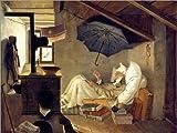 Acrylglasbild 130 x 100 cm: der Arme Poet von Carl Spitzweg - Wandbild, Acryl Glasbild, Druck auf Acryl Glas Bild