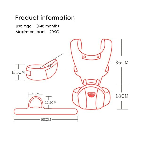 SONARIN 2018 Front Hipseat Baby Carrier, All Seasons Common, high Stretch Yarn Fabric, Summer Breathable, Ergonomic, 6 Carrying Positions,Adapted to Your Child's Growing,Ideal Gift(Pink) SONARIN Applicable age and Weight?0-48 months of baby, the maximum load: 20KG, and adjustable the waist size can be up to 45.7 inches (about 116cm). Material:designers choose breathe and dry high stretch yarn hollow fabric. All-round breathable design, 9MM breathable mesh, faster than the average 2 times the speed of the carrier, the baby's skin without any stimulation. Description: patented design of the auxiliary spine micro-C structure and leg opening design, natural M-type sitting. Widen the shoulder strap and belt will be effective to disperse the baby's weight to the shoulder and waist, so that mother more effort. Products by the strength of tensile and gravity testing, safety load 70 KG. 4