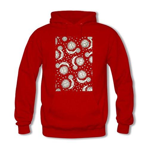 HGLee Printed DIY Custom Moon and Sun Womens Hoodie Hooded Sweatshirt Red--2