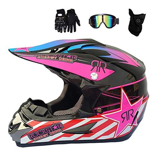 XPTOP Erwachsene Motocross Helm MX Off Road Helm Scooter ATV Helm DOT Certified Multicolor Mit Schutzbrillen/Handschuhe/Mask,Rosa,XL -