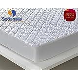 Sabanalia - Protector acolchado impermeable y transpirable (disponible en varias medidas), Cama 135 - 135 x 200 + 31