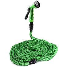 [pro.tec] Gartenschlauch / Wasserschlauch grün 30m flexibel dehnbar – Flexi-Wonder 3/4 Zoll Sprüh-Schlauch praktisch für Haus & Garten - Zauberschlauch zur Gartenbewässerung, Rasenbewässerung