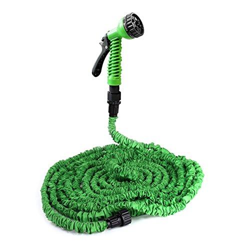 [pro.tec] Gartenschlauch / Wasserschlauch grün 15m flexibel dehnbar – Flexi-Wonder 3/4 Zoll Sprüh-Schlauch praktisch für Haus & Garten - Zauberschlauch zur Gartenbewässerung, Rasenbewässerung