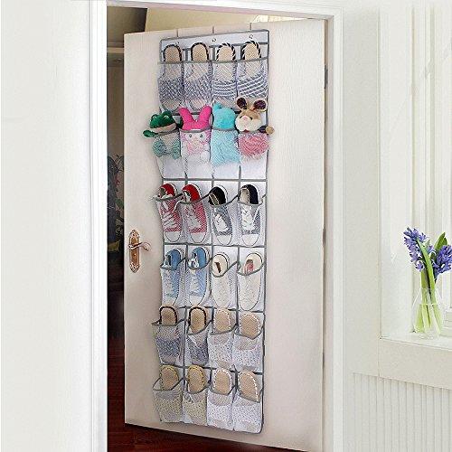 MaoXinTek Tür Schuhe Lagerung, Schuhe Aufhängen Tür Nylon Mesh 24 Taschen Lagerung Bag für Schuhe Sandalen Hausschuhe Laufschuhe Flip Flops Weiß/Braun