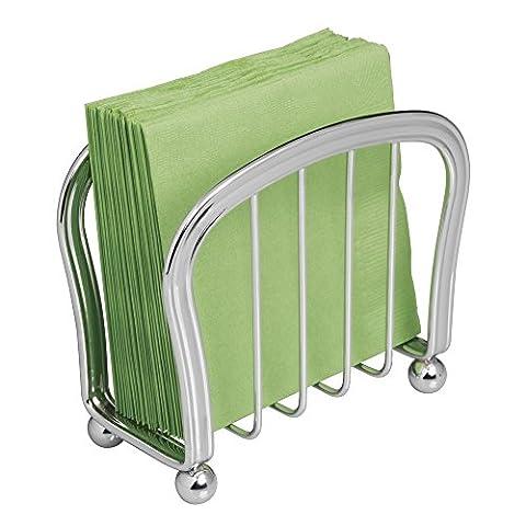 mDesign porte serviette papier pour la cuisine, le plan de travail ou la table à manger – distributeur de serviette en papier, couleur chrome – porte serviette en papier de 7 cm x 15 cm x 14 cm