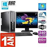 HP PC Compaq 6000 Pro SFF Intel E6300 Ram 8Go Disque 240 Go SSD WiFi Ecran 27