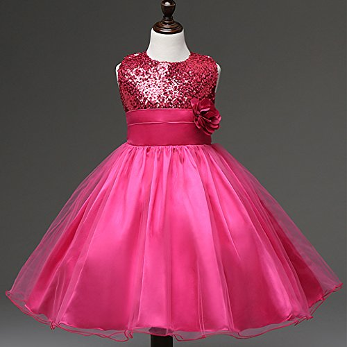 Phenovo Flower Girl Dress Princess Pageant Wedding Party Dresses Hot Pink 130 Size