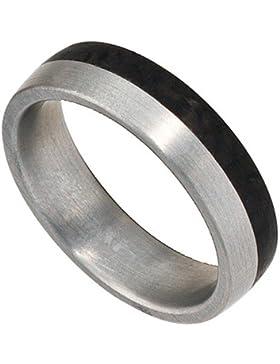 Partnerring Ring Edelstahl mit Carbon Freundschaftsring Unisex Edelstahlring