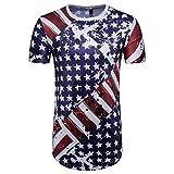 URSING_Herren Sommer Oberteil American Flag Drucken O Hals Kurzarm T-Shirt Stylisch Schlank Shirt Coole Streetwear Hip Hop Bluse Casual Tops Sport Freizeit Hemd Blusenshirt Sommerbluse (L, Blau)