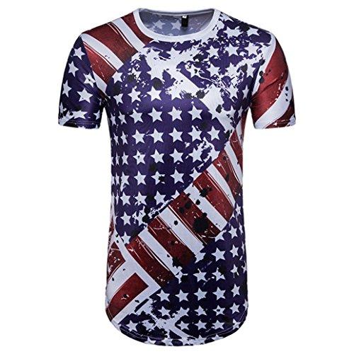 URSING_Herren Sommer Oberteil American Flag Drucken O Hals Kurzarm T-Shirt Stylisch Schlank Shirt Coole Streetwear Hip Hop Bluse Casual Tops Sport Freizeit Hemd Blusenshirt Sommerbluse (M, Blau)