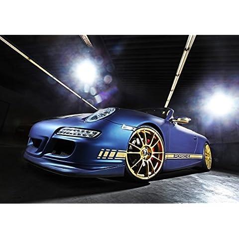 Classic Car pubblicitari e Muscle decorazione auto e Porsche Carrera Cabrio 997 di camma (2014)-Art-Stampa su carta satinata, 10 mil Archival, colore: blu, anteriore, profilo basso, statico View, Carta, Blue Front Side Low Profile Static View, 50,8 x 40,6 cm