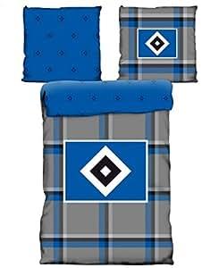 HSV hamburger sV en linon grands carreaux parure de lit réversible-housse de couette 135 x 200 literie fussballbettwäsche cm