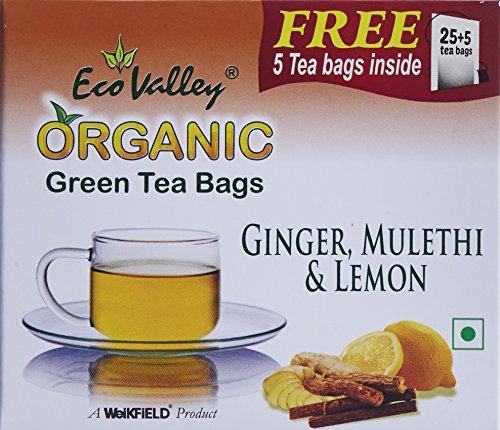 Eco Valley Organic Green Tea, Ginger, Lemon and Mulethi, 25 Tea Bags