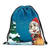 kingko Weihnachten Süßigkeiten Geschenk Tasche Bundle Tasche Santa Claus Schneemann Bedruckte Taschen Backpak Perfekte Gymnastik Packs (B)
