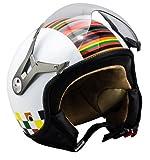 SOXON SP-325 Couleur · Scooter-Helm Mofa Vespa-Helm Retro Jet-Helm Biker Cruiser Roller-Helm Pilot Vintage Chopper Helmet Bobber Motorrad-Helm · ECE zertifiziert · mit Visier · inkl. Stofftragetasche · Weiß · M (57-58cm)