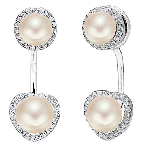 elequeen 925Sterling Silber CZ AAA Button creme Süßwasser-Zuchtperle Bridal Modern die Jacke Drop Ohrringe Sterling Creme