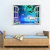 Ljcdg Einhorn Pferd Gefälschte Fenster Wandaufkleber Für Kinderzimmer Dekoration 3D Tiere Wandbild Kunst Diy Cartoon Diy Landschaft Home Decals
