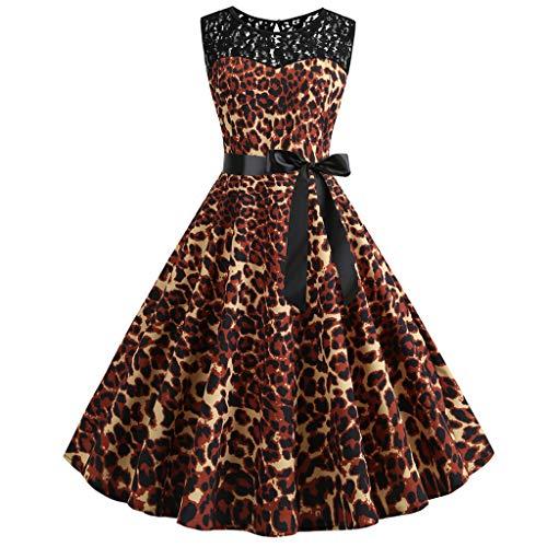 WFRAU Ärmellos Retro 1950er Cocktailkleid Für Damen Frauen Vintage Leopardenmuster Spitze Spleißen Taillengürtel Abendkleider Prom Abschlussball Swing Kleid Abend Party Kleider Formelle Kleidung