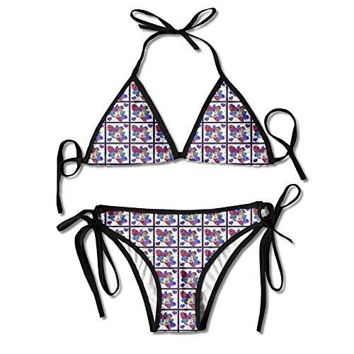 Sliding Top-panels (KLYDH Yorkie Peacock Costume Pillow Panel Womens Triangle Top Bikini Swimsuit Sliding Swimwear)