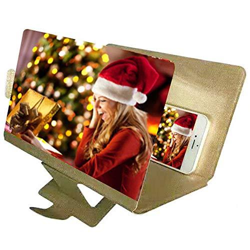 HD-Bildschirm-Vergrößerungsglas-Film-Verstärker, Telefon 3D-Filmvideo-Strahlenschutzvergrößerungsbildschirm (Farbe : Gold)