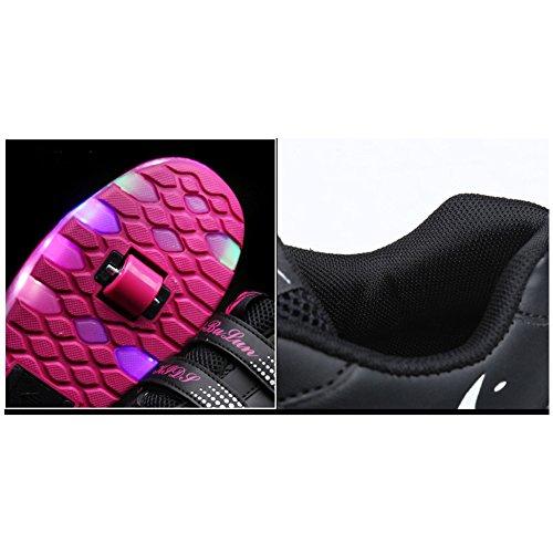 Tbbuy Unisex Kinder LED Doppel Räder Roller Schuhe Skate Trainer Boy Girl Blinkende Rollschuh Schuhe Einstellbare Rollerblades Violett