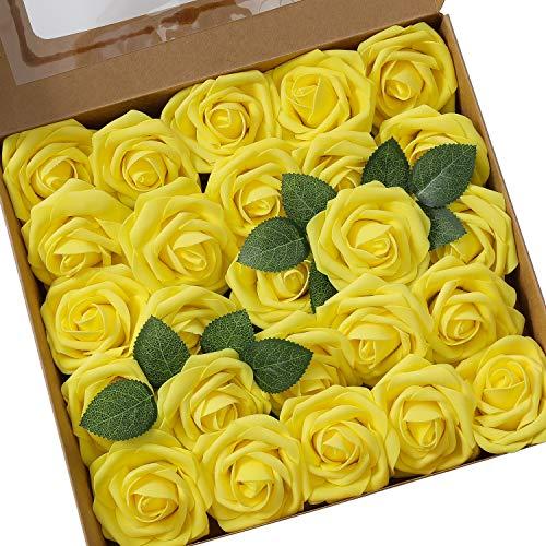 Ksnrang Künstliche Rosen Blumen Schaumrosen Foamrosen Kunstblumen Rosenköpfe Gefälschte Kunstrose Rose DIY Hochzeit Blumensträuße Braut Zuhause Dekoration (25 Stück, Gelb) (Gelbe Rosen Künstliche)