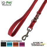 iQ-Pet Hundeleine Made in Germany   3-Fach Verstellbar (2m - 1,20m)   Nylon, gummiert, in Signal-Farbe   Sehr Langlebig und Robust   Hunde-Leine, Führ-Leine, Trainings-Leine, Doppel-Leine (Rot)