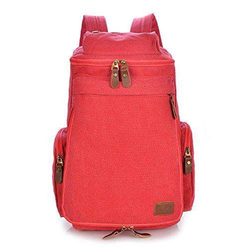 Koreanische Version von Männern und Frauen Leinwand National Wind einfach Schule Rucksack Taschen, khaki Red
