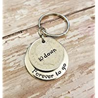 10th Anniversary Gift with a 2008 10 Pence Coin and Aluminum Plate Key Chain for Her or Him