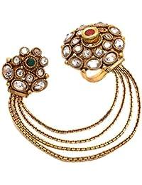 Geode Delight Gold Plated Kundan Double Finger Ring For Women