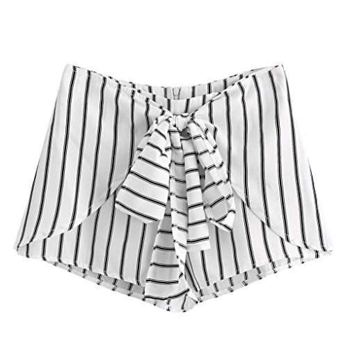 Damen Hosen Shorts - Vectrys - Sommer Hotpants Bermudas Ultra Jeans Leggings Strand Laufgymnastik Yoga Der Sporthosen Schlafanzughosen - High Waist Striped Casual (S, Weiß) (Striped-shorts Classic)