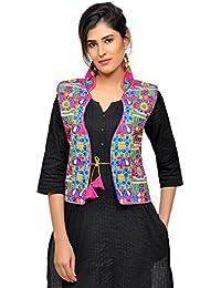 Banjara India Women's Dupion Silk Embroidered Kutchi Waist Length Jacket/Koti