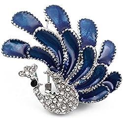 Hosaire 1 Stück Brosche Mode Blau Peacock Form Zirkon Broschen