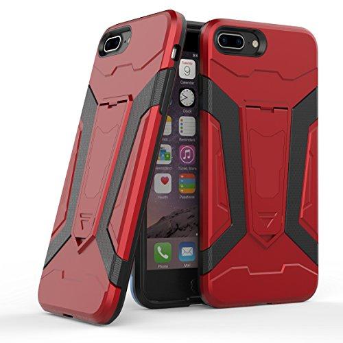 Apple iPhone 7 Plus 5.5 Hülle, Voguecase 2 in 1 Case Hybrid Hülle Bumper Hart PC Case Tasche Schutzhülle Handyhülle mit TPU Rückseite Cover (Armored Halterung-Grau) + Gratis Universal Eingabestift Armored Halterung-Rot