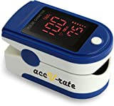 #1 USA Top Rated Acc U Rate® Pro Series CMS 500DL Fingertip Pulse Oximeter Blood Oxygen Saturation Monitor with silicon cover, batteries and lanyard