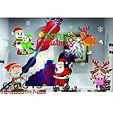 Yazidan FröHliche Weihnachten Haushalt Zimmer Mauer Aufkleber WandgemäLde Dekor Abziehbild Entfernbar Neu Diy Weihnachtsmann Claus Baum Fenster Zuhause Dekoration Schneemann Rentier 70 * 50cm(E)