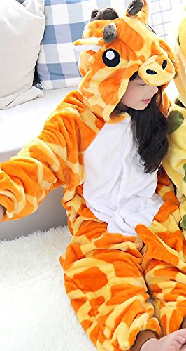 Kids Cartoon Flannel Animal Novelty Costumes Cosplay Pajamas Role-Playing Halloween Play Clothes,Giraffe,M (4 Yr Old Boy Halloween Kostüme)