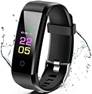 KOLP Smartwatch Orologio Fitness Tracker, Uomo Donna Cardiofrequenzimetro Impermeabile IP67 da Polso Contapass